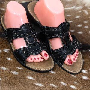 Clark's Bendables Black Leather Sandals Sz 9.5